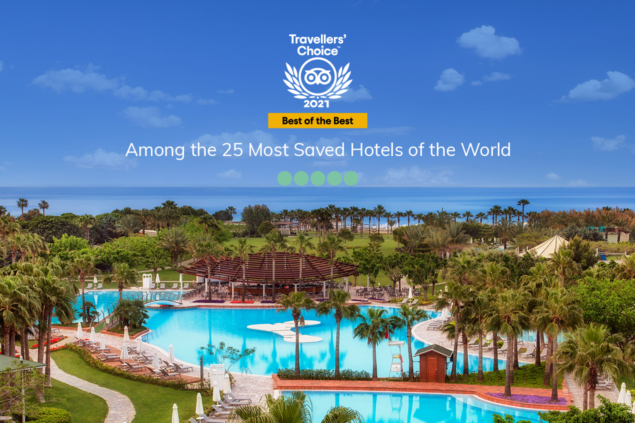 LARA BARUT COLLECTION IS THE ONLY TURKISH HOTEL AMONG 25 HOTELS THAT HAVE BEEN MOST SAVED BY TRIPADVISOR GUESTS ALL AROUND THE WORLD!